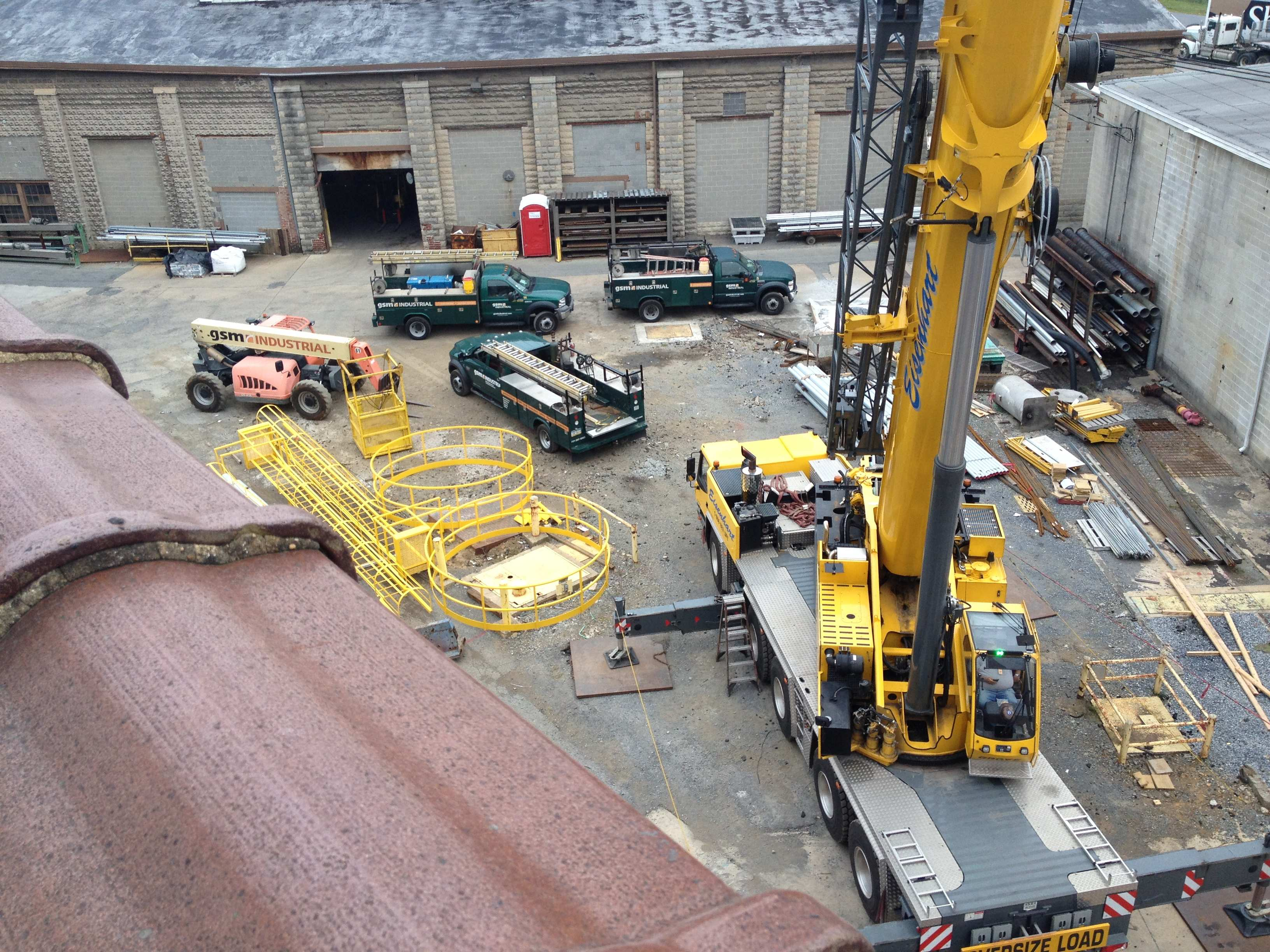 Aerial View of GSM Crane and Crew Trucks