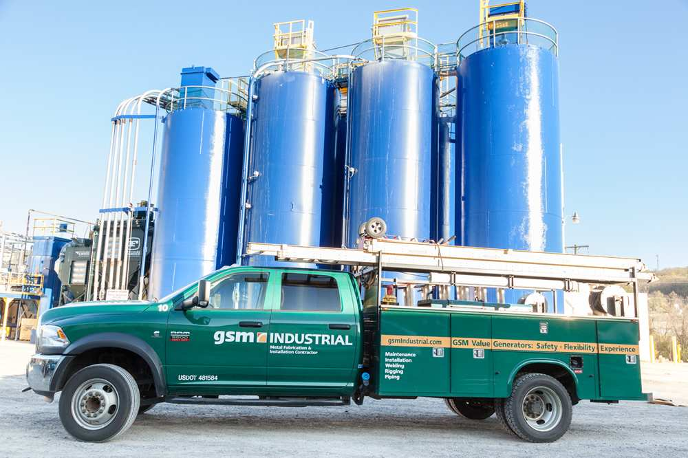 GSM Industrial's well-stocked field service truck at job site.