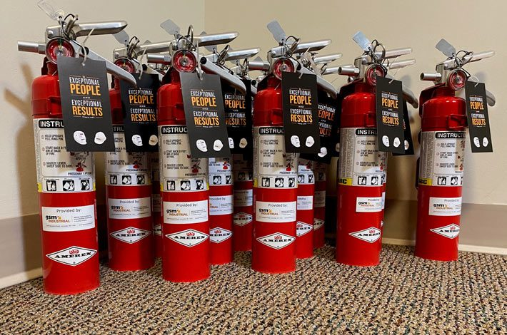 New fire extinguishers ready to be used in emergency
