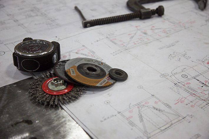 Tools laying on a blueprint